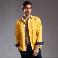 Men's Top Quality Denim Shirt European Fashion Plus Size Autumn & Winter 2014 100% Cotton Pocket Blusa Camisa Jeans de Masculino