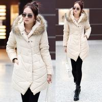 FASHION 2014 winter women down parka cotton-padded jacket female medium-long thickening casual loose plus size wadded jacket .