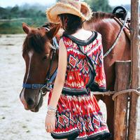 [LYNETTE'S CHINOISERIE - MOK ] Summer Original Design Indian Style National Trend Print Tassel Women Rayon Dress Sz S M L