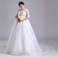Free shipping 2014 latest small train wedding dress big size lace bride gown maternity formal dress