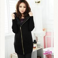 free shipping ! women's thick winter cardigans female big size velet sweaters XXXL girl's diamond long sleeve hoodies