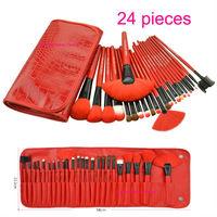 2014 HOT !! Professional 24 pcs Makeup Brush Set tools Red Color Make-up Wool Brand Make Up Brush Set Case Free Shipping