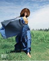 [ LYNETTE'S CHINOISERIE - BOSHOW ] Autumn Original Design Women Embroidery Lolita Asymmetrical Elastic Waist Denim Maxi Dress