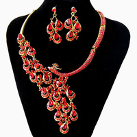 Bridal Bridesmaid Party Crystal Rhinestone Noble Peacock Red Jewelry Sets Bib Necklace Wedding Gold Plated Earring Necklace