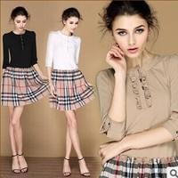 2014 new european style fashion brand dress female Lady plaid brand cute dress suit Hotselling Women clothing free shipping