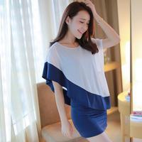 free shipping ! new 2014 female one-piece dress summer loose big size women's clothing faux two piece girls' chiffon dress