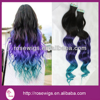6A Top Quality Three Ombre Tone Color Black /Purple/Turquoise European Hair Tape Hair Extension
