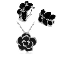 2014Fashion accessories Female quality flower set black rose necklace/earring 2 piece women Jewelry Sets free shipping