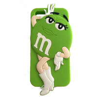 New Hot Lovely 3D Cartoon M&M's Chocolate Case Colorful Back Defender Rainbow Bean Silicon Cover For IPhone 5 5G 5S