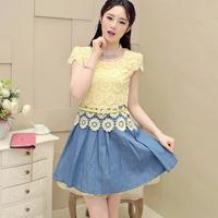 Free shipping! 2014 summer fashion gentlewomen lace flower color block patchwork denim one-piece dress! 220163