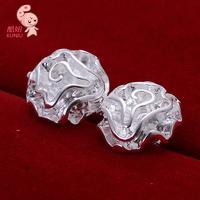 New Wholesale Fashion Beautiful Earring Rose Flower Style Ring 925 Sterling Silver Earrings Free Shipping KUNIU003