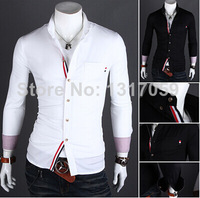 2014 new arrival! Ribbon decoration leisure shirt 9005 men's long sleeve shirt in stock 2 colors 4 size Free Shipping!