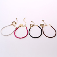 Wholesale Fashion real leather TB Coins charm bracelet  for women mens 3 colors available