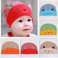 1pc Lovely Fashion Soft Cotton Infant Boys Girls Skull Cat Hats Kids Children Homies Animal Caps 870622