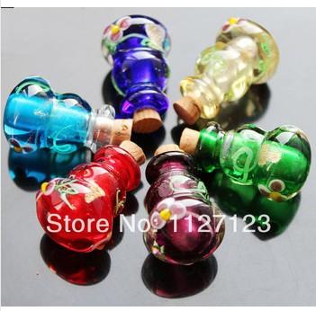 10 pcs de vidro Murano frasco de petróleo essencial Vial cabaça Perfume frascos de Perfume de cristal pingente(China (Mainland))