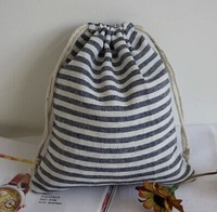 3 different size Handmade Blue stripes storage bags Cotton Drawstring clothing bag can be use for Cosmetic Bags