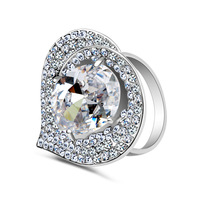Top AAA CZ Crystal Ring Platinum Gold Plated Heart with Big Zircon  Rings Wedding Jewelry For  Women