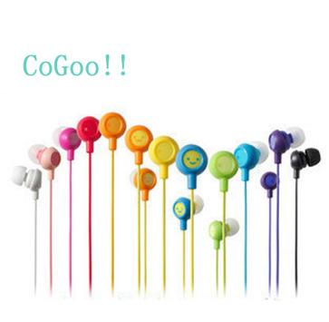 Wholesale 10pcs/lot 12 colors 3.5mm in ear earbuds Cute fruit earphone smile Earphones & Headphones for mp3 mp4 kids girls Gift(China (Mainland))
