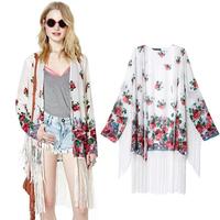[B-1240] Free shipping 2014 summer new hot Cardigan sun protection clothing white roses fringed hem printed kimono jacket