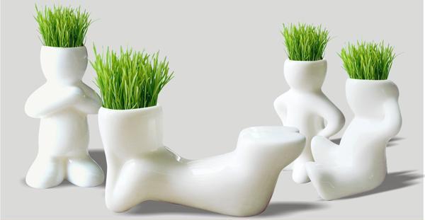 4 Shape/1Set Wholesale Fun Mini Novel Bonsai Grass Doll Hair Lazy Man Plant Sit Free Shipping(China (Mainland))