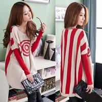 Free Shipping Fat MM bigger sizes Women's autumn winter winter circle pattern The bat sleeve loose long knitting sweater