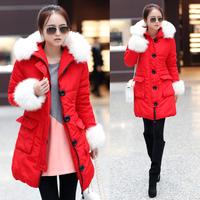 Fashion 2014 winter parka women cotton-padded jacket female medium-long thickening casual loose down wadded jacket coat .