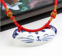 2014 Newly handmade original hand-painted plutus cat Blue and white porcelain necklace 2pcs/lot