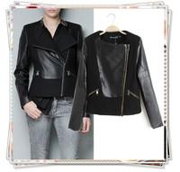 2014 New Fashion Women Winter Brand Faux Motorcycle Leather Jacket Turn-down Collar Pocket Zipper Patchwork Woolen Short Coat