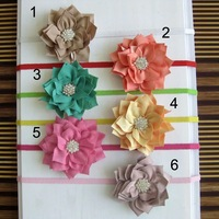 Multilayer Double Color Polygonal Fabric Flowers With Crystal Starburst Button on Thin Elastic Headbands 20pcs/lot DF093