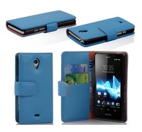 wallet card slots holder  leather case cover for  Sony Xperia lt30i