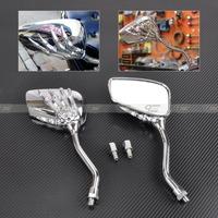 Silver Motorcycle Skeleton Skull Hand Claw Shadow Rearview Side Mirrors 8mm 10mm  for Honda Kawasaki Suzuki Yamaha MP019-S