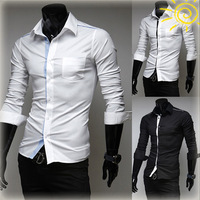 Free shipping 2014 mens shirts Simple pure color long sleeve shirt mens casual slim fit shirts 3 colors  size M -XXL
