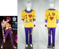 Free shipping custom made Anime No Game No Life Sora B Fake collar T-shirt+Pants+Wristbands+Bag Cosplay Costume