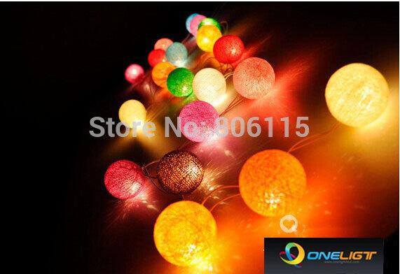 Free Shipping 1PC 3M 20 Coffee Globe Cotton Ball String Party Fairy Decor Christmas Wedding Light(China (Mainland))