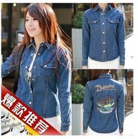 Spring 2014 Women Korean Explosion Models Wild Denim Jacket Back Street Printing Shipping Women Jacket Wholesale Price