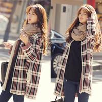 Autumn winter long loose big yards cardigan sweater knitting grid female coat Fat MM Free Shipping