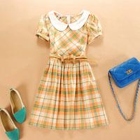 2014 women dresses summer desigual casual vestidos for ladies clothing vestido de festa party dress short sleeve plaid dresses