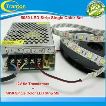 LED Strip 5050 60led/m fleixble lighting set, 300LED 5m 5050 strip + 5A 12V 60W iron ...
