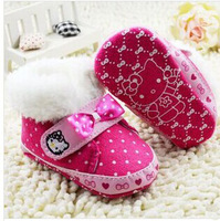 Lastest  Bebe Winter Snowfield  Keep Warm Cotton Boots Hello Kitty First Walker Shoes RED