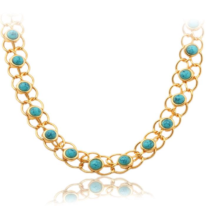 Бирюзовый ожерелье 18K Настоящее Позолоченные Турецкий камень колье ожерелье подарка ювелирных изделий для...