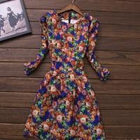 New 2014 Fashion Winter dress plus size XXXL women clothing print Slim stylish retro patterns dress casual vintage dress SY1594