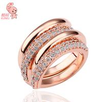 One Ring Cross One Ring Rhinestone inlaid 18K Rose Gold Plated Ring Set KUNIU Hotsale