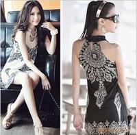2014 Summer New Fashion Women Lovely Girl Vintage Collar Floral Print dress Mini Dress beach Sundress