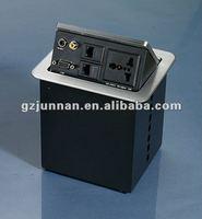 Junnan high quality retractile table top sockets 1 POWER+1MIC+2USB+1DATA+1VGA