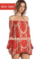 (DEIVE TEGER) Designer European  Red embroidery  Slash neck half sleeve   Lace Patchwork Women  Dress DT193