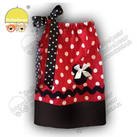 S/M/L 2014 new Wholesale Fashion Baby Girls Pillowcase Dress With Red Polka Dot Children's Chevron strip Dress 2style