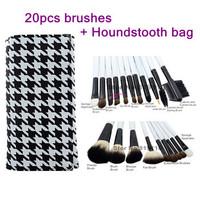 Houndstooth makeup bag for 20Pcs Professional Brushes set  tool 20 pcs makeup Cosmetic kit  Make up Brush tools set professional