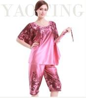 2PCS Big Women Girls Pajama Sets Tops Bottoms Summer Spring Print Imilated Silk Satin Plus Size Clothing YTT5 DZ5 Comfortable