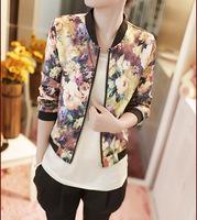 Free shipping Korean version of the jacket trend wild sweet floral collar long-sleeved bomber jacket print zipper women