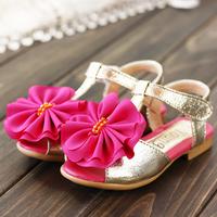 Child sandals 2014 ploughboys open toe dance shoes big boy flash leather flower children shoes 9 11